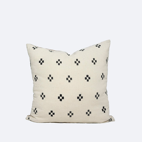"""18"""" x 18"""" White Pillow Cover Made of Vintage Batik with Embroidered Elements"""