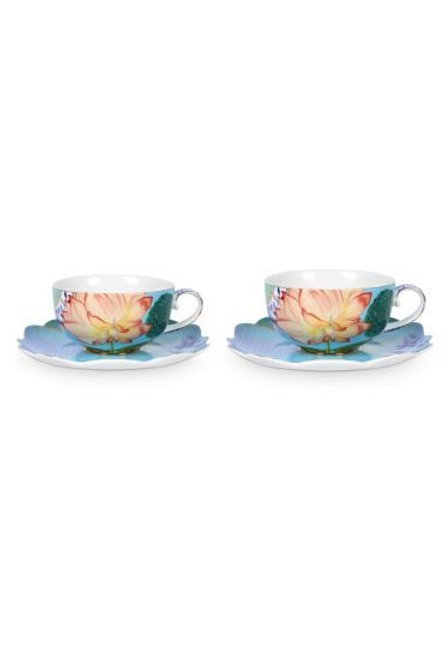 Gift Set of 2 Tea Cups and Saucers Royal Flowers by Pip Studio