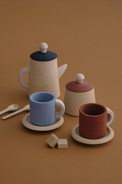 Terra and Blue Tea Set