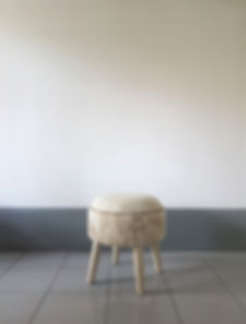 Round stool. Design upholstery