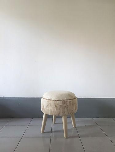 Round stool. Design upholstery