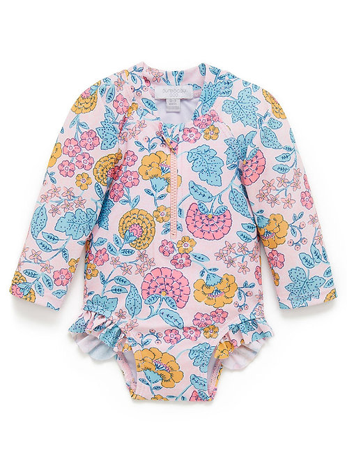 Bathing Suit with Long Sleeves Pink with Marigold Pattern for Babies and Toddlers