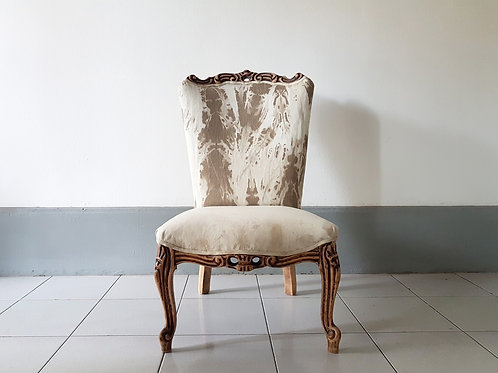 Vintage chair. Front view. Upholstery by designers