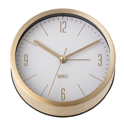 Table Clock in Golden Colour with White Face