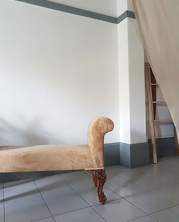 Soft bench with carved legs. Boutque home decor atelier in Singapore