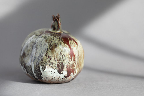Grey Red Handmade Ceramic Pomegranate