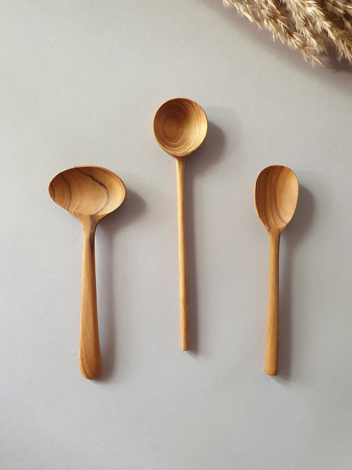 3 Teak Wood Handmade Kitchen Spoons