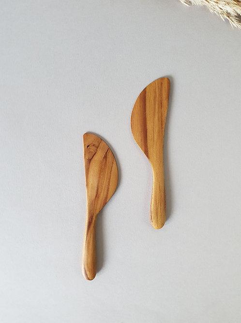 2 Teak Wood Handmade Butter Knives