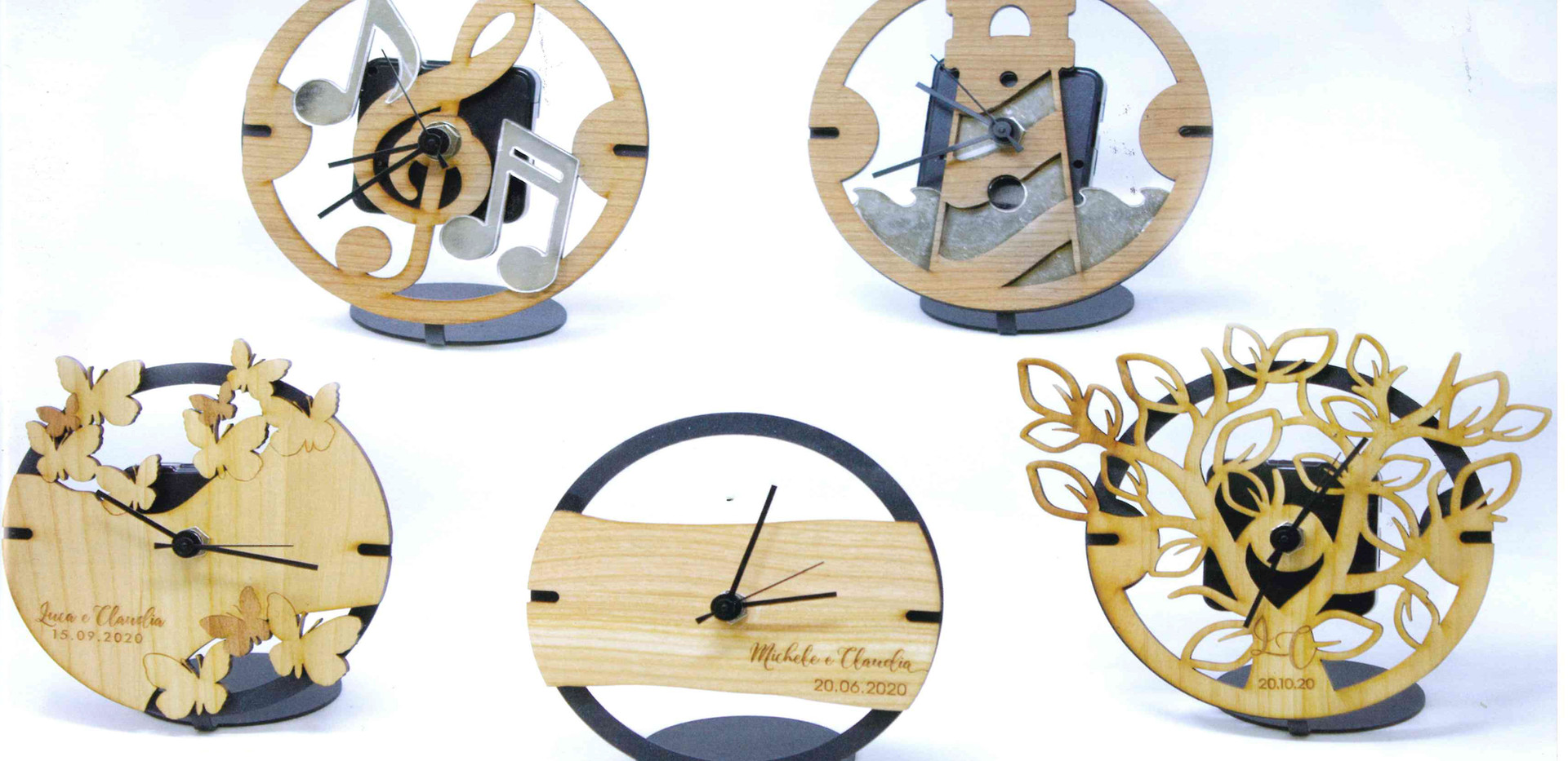 Orologi personalizzazione in legno