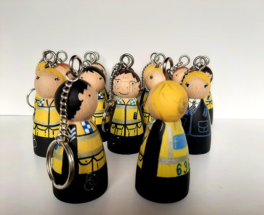 Personalised Police Peg Doll Key Ring