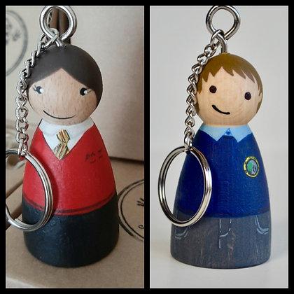 School Uniform Peg Doll Key Ring Bag Charm