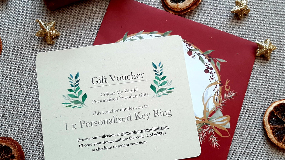 Gift Voucher 1 x Personalised Key Ring