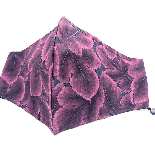 Magenta Leaves Japanese high thread count cotton face mask with