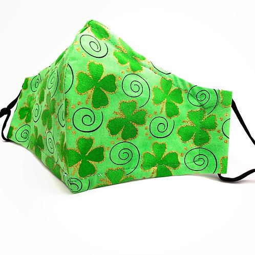 Lucky Glimmer Clovers Reusable 100% cotton face mask w/ filter