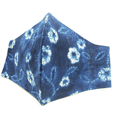 Indigo Flowers Reusable Japanese cotton Olson style face mask with s
