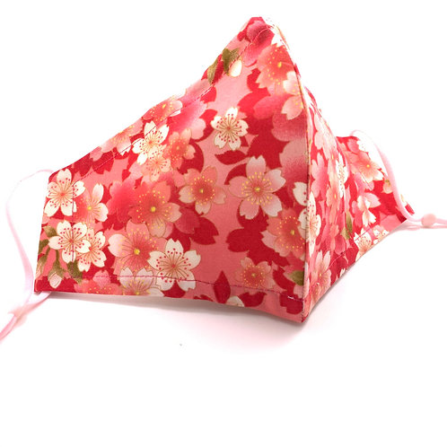 Pink Japanese Flowers Reusable 100% cotton Olson style face mask with sleeve