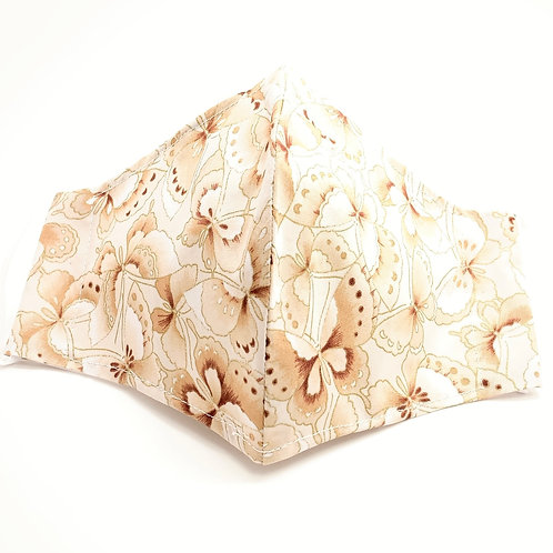 Butterflies Cream Gilded Reusable Japanese cotton face mask with sleeve