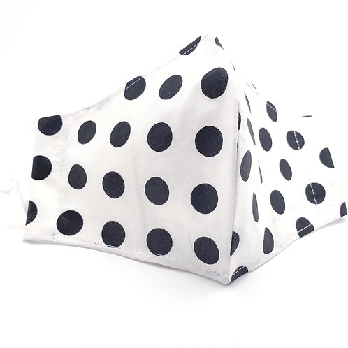 Polka Black on White  Reusable Japanese cotton Olson style face mask with sleeve