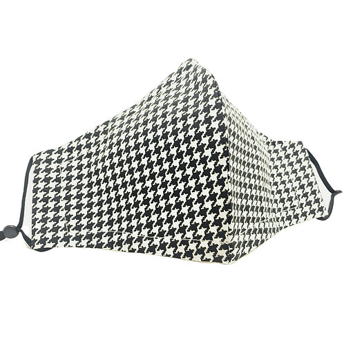 Houndstooth Reusable American milled cotton Olson style face mask with sleeve