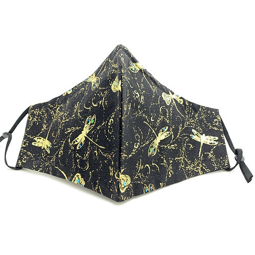 Gold Gilded Dragonflies on Black Reusable Japanese cotton face mask