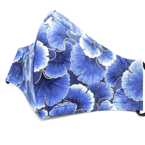 Blue on blue Reusable Japanese face mask with sleeve