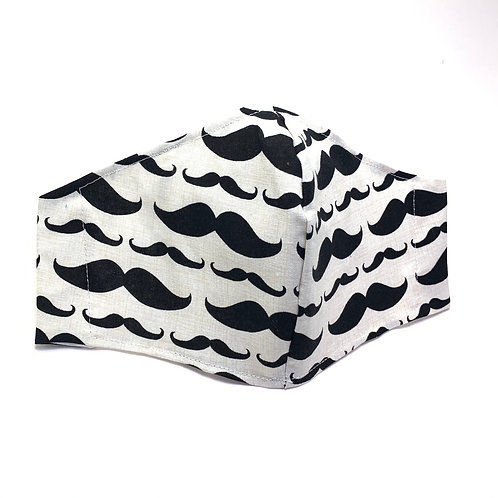 Moustache Reusable American milled cotton face mask with sleeve