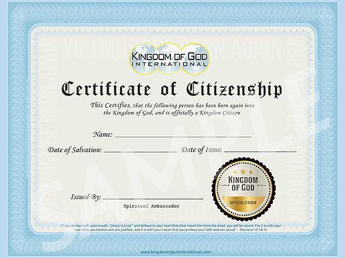 Kingdom of God Certificate (50 pack)