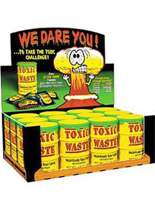 Toxic Waste Sour Yellow Candy Drums