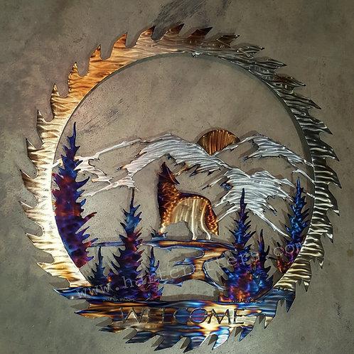 southwestern,wolf,metal,art
