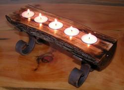 Hickory Log Candle holders