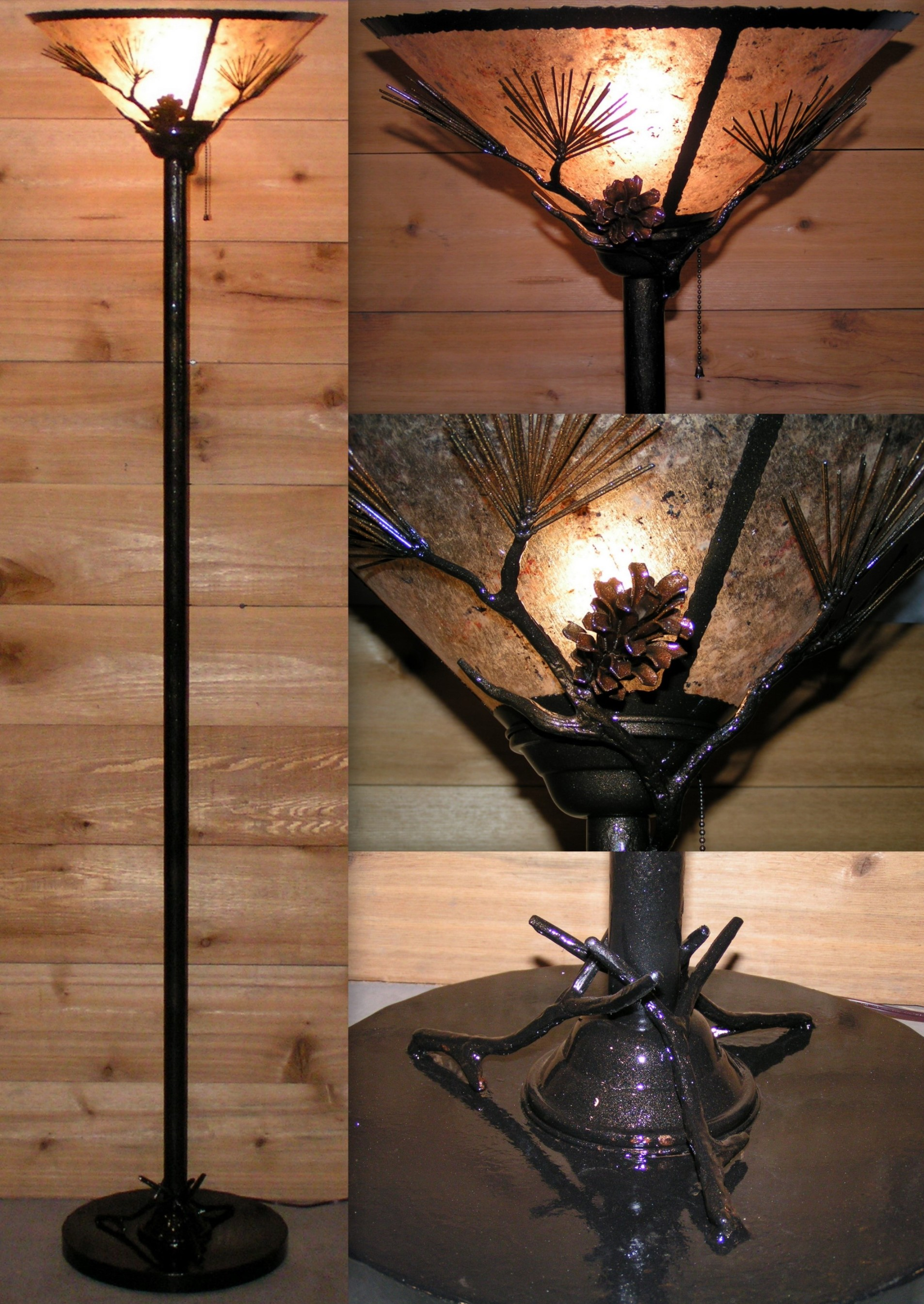 Torchiere floor lamp pinecones