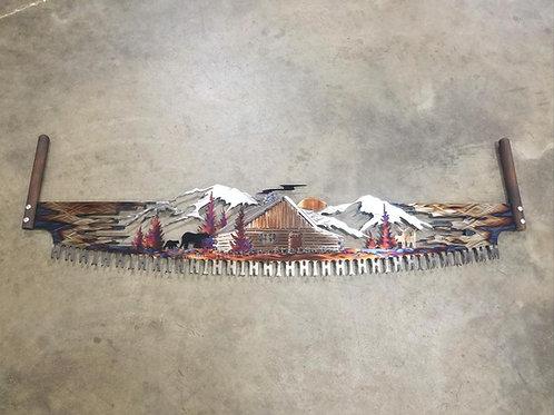 rustic,cabin,scene,wall,art,crosscut,saw