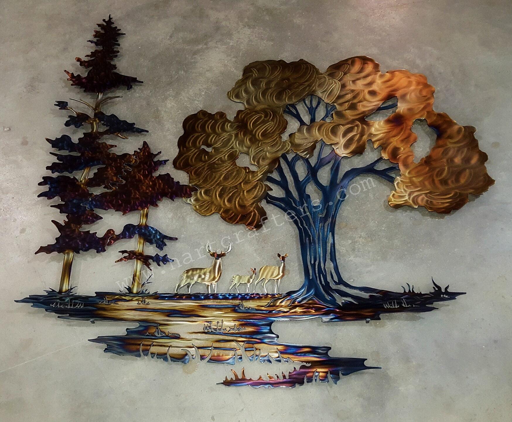 Hartcrafters Custom Metal Art Old Oak Pines Amp Deer