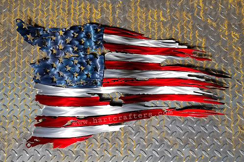 distressed,metal,art,american,flag