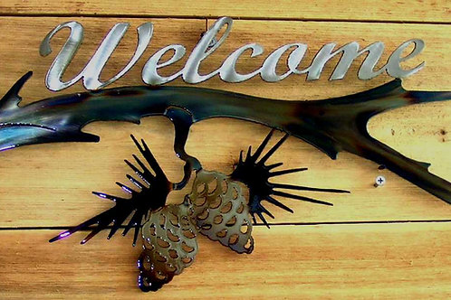 Pine Cone Limb Welcome Sign