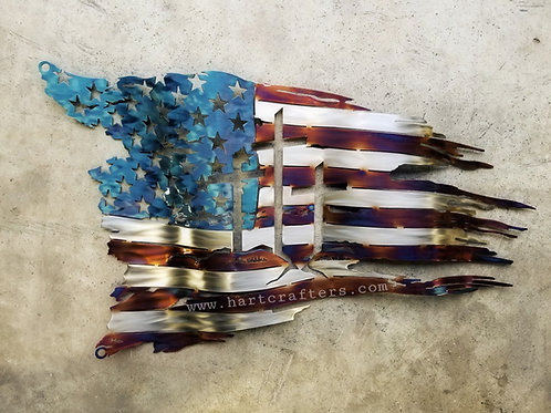 Torched 3 wooden crosses American Flags