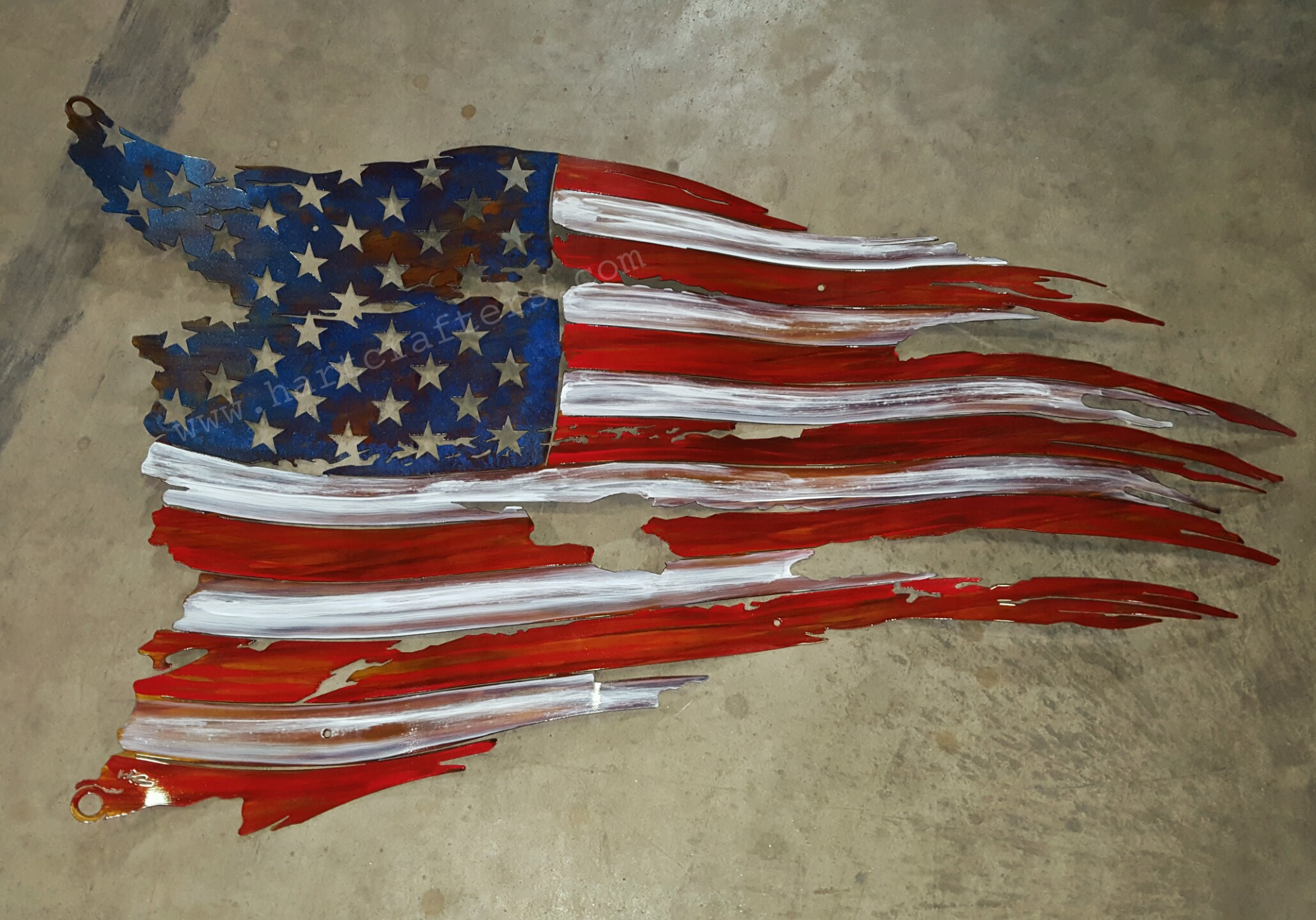Rustic American flags