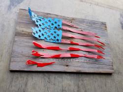 Barn wood with American flag