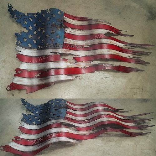 distressed,metal,american,flag