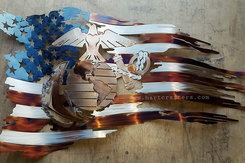 marine,metal,art,american,flag
