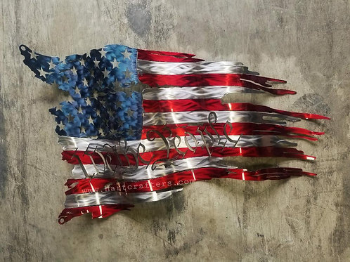 We The People Vibrant Distressed American Flags