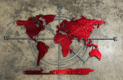 7 ft World map & compass