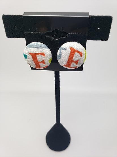 Initial  Button Earrings
