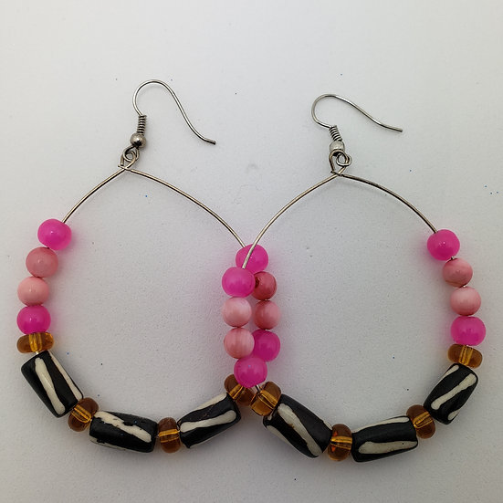 Hoops with African Beads with Pink accents