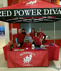 Red Power Divas' booth at Run for the Super Bowl 50