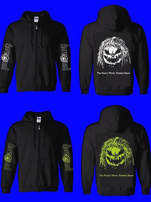 Green Or White Print Black Zip Hoodie