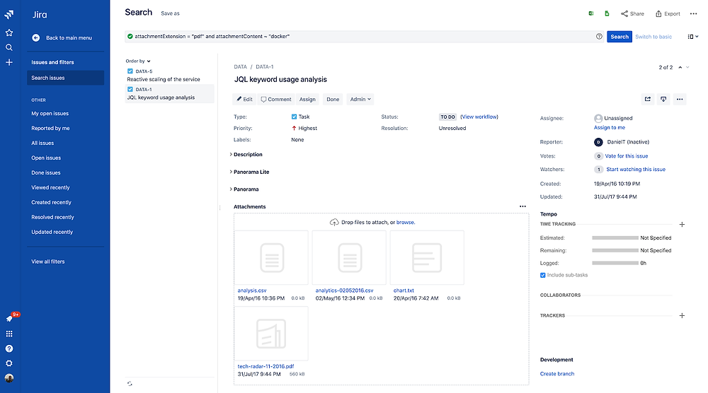 Search Jira attachment content