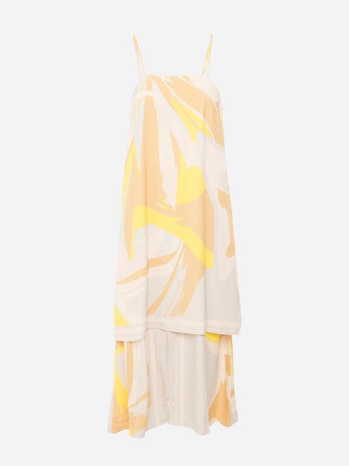 Vestido Martine Estampado Disparo V Amarelo