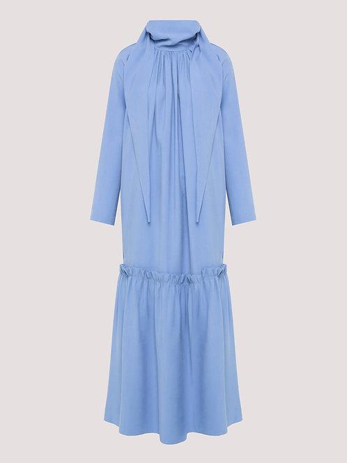 Vestido Lorenza Manga Longa Azul (Sob Encomenda)