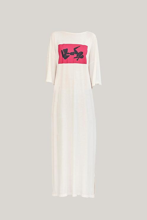 Vestido Camiseta Leona Off White